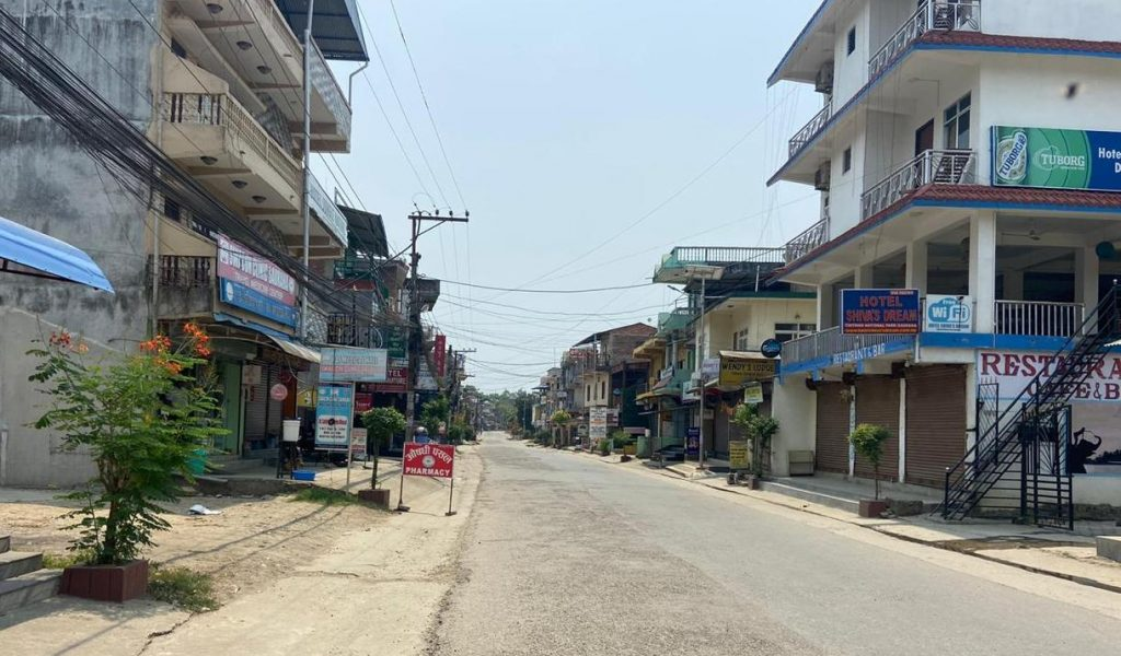 Verlaten straten in Nepal